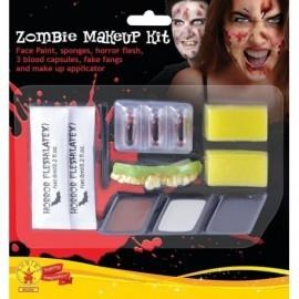 Kit maquillaje zombie dientes latex sangre esponja
