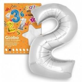 Globo numero 2 color plata 119x86 cm