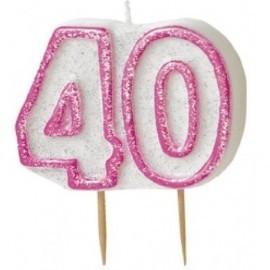 Vela numero 40 blanca y rosa