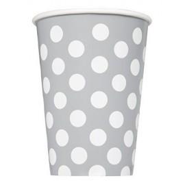 Vasos color plata de lunares 8 uds