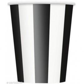 Vasos rayas negras y blancas 6 uds