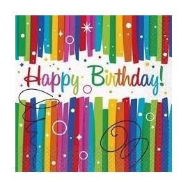 Servilletas arcoiris feliz cumpleaños 16 uds
