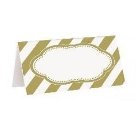 Tarjetas de mesa doradas rayas 16 uds