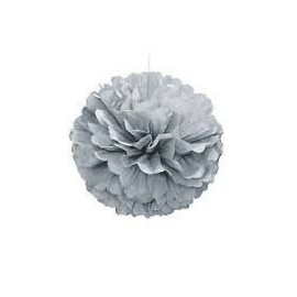 Pom pom colgante decorativo color plata 40 cm