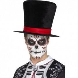 Sombrero chistera copa alta negra con cinta roja catrin