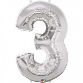 Globo numero 3 plata de foil para helio o aire 86 x 55 cm