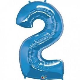 Globo numero 2 azul de foil para helio o aire 88 x 53 cm