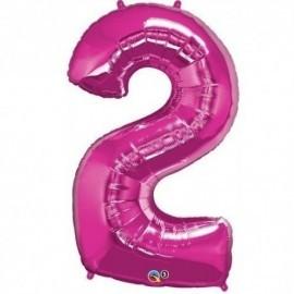 Globo numero 2 rosa de foil para helio o aire 88 x 53 cm