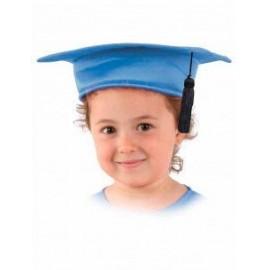Birrete infantil azul de tela para niño