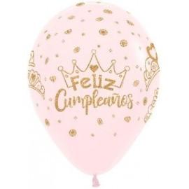 Globos feliz cumpleaños gliter oro 12 uds
