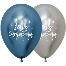 Globos feliz cumpleaños reflex azul y plata 12 uds