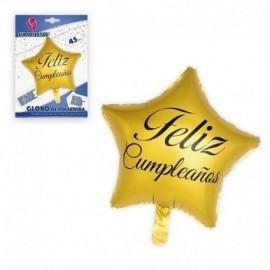 Globo Feliz cumpleaños estrella oro 45 cm