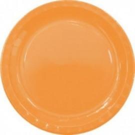 Platos naranjas carton 8 uds 23 cm