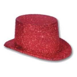 Chistera Rojo con escarcha purpurina brillantina