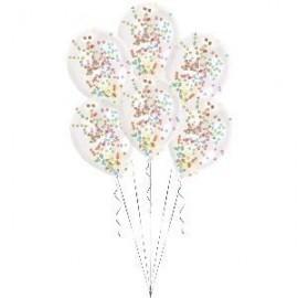 Globo baratos transparentes confetti colores pintado 6 uds