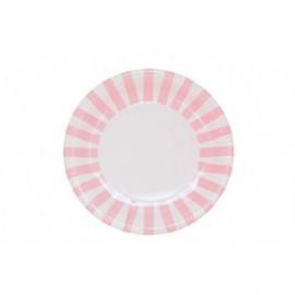 Platos blancos rayas rosas 8 uds 23 cm