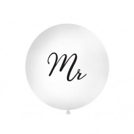 Globo barato boda gigante 1 metro Mr blanco y negro