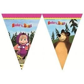 Banderin triangular Masha y el oso para cumpleaños 213 cm