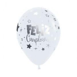 Globo baratos blancos feliz cumpleaños metalico 12 uds 30 cm