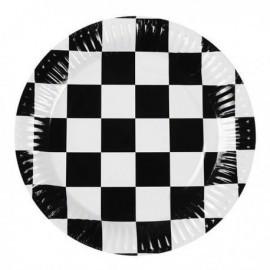 Platos negros a cuadros formula 1 6 uds 23 cm