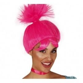 Peluca troll rosa similar a Poppy