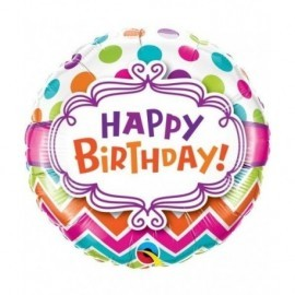 Globo barato Happy Birthday confeti Chevron 45 cm