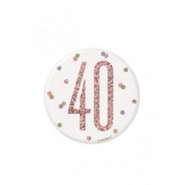 Chapa 40 cumpleaños rosa dorado