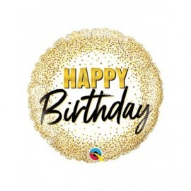 Globo barato Happy Birthday confeti oro 45 cm