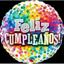 Globo barato feliz cumpleaños confeti colores 45 cm