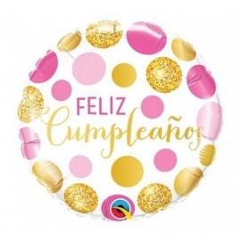 Globo barato feliz cumpleaños oro 45 cm foil