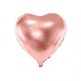 Globo barato forma corazon 45 cm rosa dorado