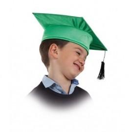 Birrete infantil verde de tela para niño
