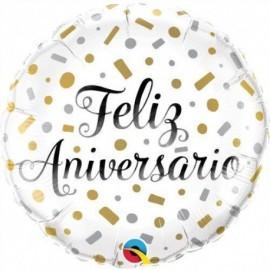 Globo Feliz Aniversario 45 cm helio o aire