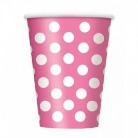 Vasos rosa lunares blancos 6 uds