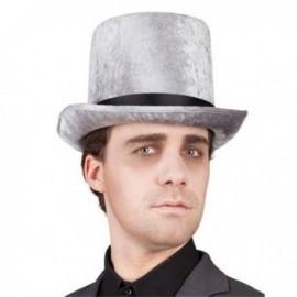 Sombrero logan chistera terciopelo gris copa alta