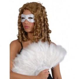 Abanico plumas blanco