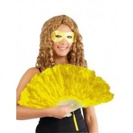 Abanico plumas amarillo