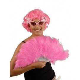 Abanico plumas rosa