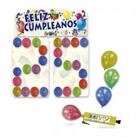 Cartel feliz cumpleaños 96x33 66x46 cm con globos