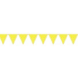 Banderas triangulares plastico amarillo puntos 5 m