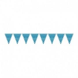 Banderas triangulares plastico azul puntos 5 metro
