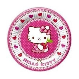 Platos hello kitty hearts 23 cm 8 unidades