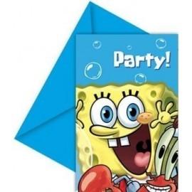 Invitaciones bob esponja 6 und