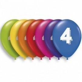Globos numero 4 colores surtidos 28 cm 10 unid