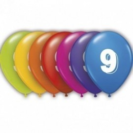 Globos numero 9 colores surtidos 28 cm 25 cm 8 uni