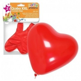 Globo corazon rojo xxl 50 cm 2 unidades latex