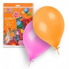 Globos latex colores surtidos fluor 100 und. 23 cm