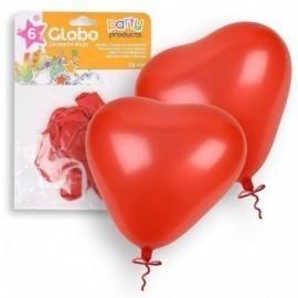 Globo corazon rojo 25 cm 6 unidades latex