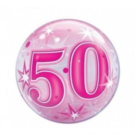 Globo 50 cumpleaños burbuja rosa 22 50 cm