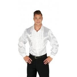 Camisa disco blanca chorreras para hombre talla l